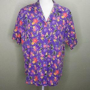 Vintage Lizsport Purple Floral Print Shirt M EUC